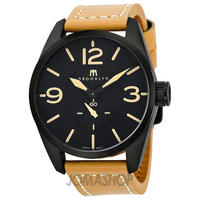 Brooklyn Watch Company Lafayette Black Dial Tan Leather Swiss Quartz Mens Watch