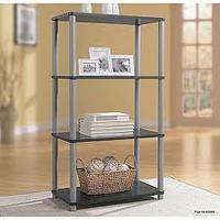 Essential Home  4 Shelf Bookcase Black with Silver