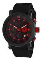 Red Line Men's Compressor Chronograph Black Dial w/Red Accents Black Silicone