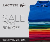 Up to 50% OFF Lacoste Sale + free shipping