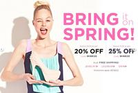 Extra 20% off $100 or Extra 25% off $125plus free shipping @Betsey Johnson