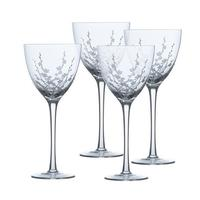 Mikasa  Cherry Blossom Crystal Wine Glasses, Set of 4