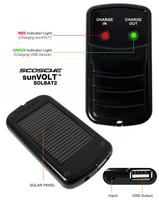 2Pk: Scosche USB Solar Powered Backup Battery 1500mAh Lithium-Ion & Charger