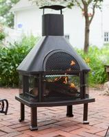 Red Ember Rubbed Bronze Fireplace with Cover