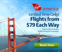 From $79Virgin America one-way flights on sale