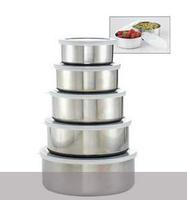 $12All in one 10 piece stainless steel bowl set