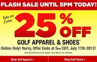 Extra 25% offApparel and Shoes Flash Sale @Golfsmith