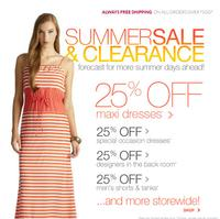 Extra 25% offMaxi dresse, men's Tees and shorts @ Loehmann's