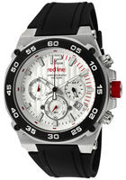 Red Line Men's Activator Chronograph Light Silver Textured Dial Black Silicone Watch