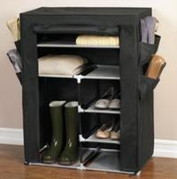 Brylane Home Portable Wardrobe with Shoe Pockets