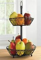 Brylane Home Two-Tier Wire Basket for Kitchen