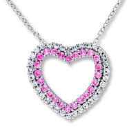 Pink and White Lab-Created Sapphire Heart Necklace