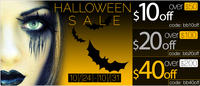 $10 off $50, $20 off $100, $40 off $200Halloween Sale @ Beauty Bridge