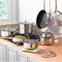 $6014-Piece Gold-Plated Stainless Steel Cookware Set