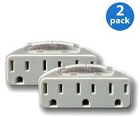 Two 3-Outlet Adapters with Guide Lights