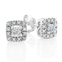 10K White Gold 1/4 Carat tw Diamond Frame Stud Earrings