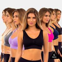 6 Pack Seamless Sports Bra with Removable Padding