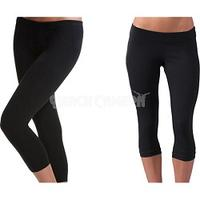 Miss Juli 2-Pack of Seamless Capri Yoga Leggings in Midnight Black ( Size S/M ) Style 5018
