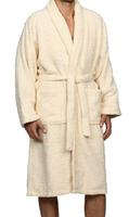 Superior Egyptian Cotton Taupe Bath Robe in Ivory