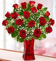 Blooming Love™ Premium 12 Stem Red Roses in Red Vase