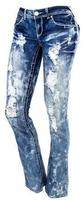 Almost Famous by Body Central Women's Destructed Cloud Wash Bootcut Jeans