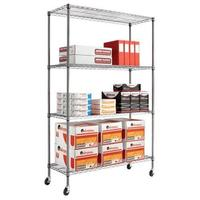 $69.99 Alera 4-Shelf Complete Wire Shelving Unit with Caster