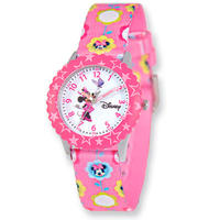 Disney Kids Minnie Mouse Printed Fabric Band Time Teacher Watch