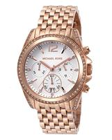 Michael Kors Women's Pressley Chrono White Crystals White Dial Rose Gold Tone IP Stainless Steel Watch