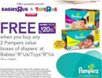 FREE $20 Gift Cardwhen you buy ANY two Pampers value boxes @BabiesRUs