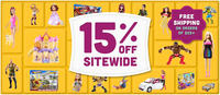 15% off site wide@ Mattel
