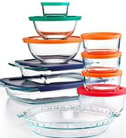 $22.5 Pyrex 19-Piece Bake, Store and Prep Set with Colored Lids