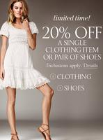 Up to 60% OFF+extra 20% OFF a single clothing item or pair of shoes @ Victorias Secret