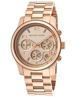 Michael Kors Women's Chronograph Rose Gold Tone Dial and Bracelet Watch