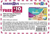 Free $10 Gift Cardany Pampers value box of diapers @ BabiesRUs (In Store Only)
