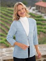 Heathered Pointelle cardigan sweater