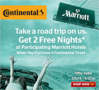FREE 2 nights Marriott stayWhen purchase a set of 4 Continental tires@TireRack