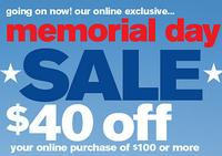 $40 off $100Memorial Day @  Stage Stores