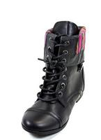 Body Central Women's Fold-Over Zip-Back Combat Boots