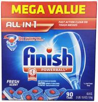 Finish Powerball Tabs Dishwasher Detergent, Fresh Scent, 90 Count