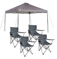 $78 Ozark Trail instant 10x10 Straight Leg Canopy with 4 Folding Quad Arm Chairs