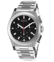 Gucci Men's Pantheon Chronograph Silver-Tone Steel Black Dial Watch