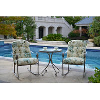 $98 Mainstays Willow Springs 3-Piece Rocking Outdoor Bistro Set, Cream, Seats 2