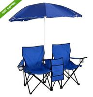 $44.95 Picnic Double Folding Chair w Umbrella Table Cooler Fold Up Beach Camping Chair