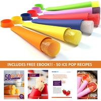 $8.99 Sunsella Mighty Pops - 6 Premium Quality, BPA Free, Silicone Ice Pop Popsicle Molds Free 50 Ice Pop Recipes Ebook