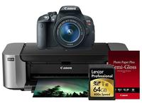 Canon EOS Rebel T5i 18-55 IS II + Pro 100 Laser Inkjet Printer + 50 PackPaper + Lexar 64GB 400X SDHC Card