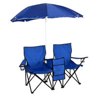 $39.95 Picnic Double Folding Chair w Umbrella Table Cooler Fold Up Beach Camping Chair