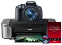 Canon EOS Rebel T5i 18-55 IS II + Pro 100 Photo Printer + 50 Pack Paper + 32GB SDHC Card