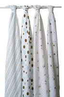 $32.76 aden + anais Classic Muslin Swaddle Blanket 4 Pack, Aqua and Brown (Previous Model)
