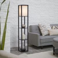 Adesso 3138-01 Wright 150-Watt 62.5-Inch Tall Floor Lamp with Silk Shade, Black
