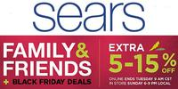 Extra 5-15% off Family & Friends + Black Friday Sale @ Sears.com